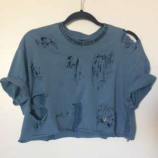 Blue distressed tshirt