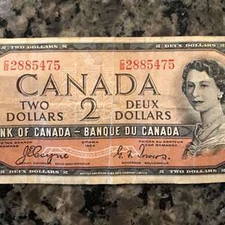 Canadian $2 bill/banknote
