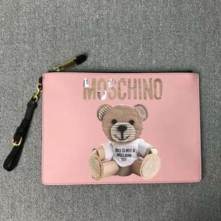 Moschino Paper Bear 紙皮熊 大 size  Clutch Bag (粉紅色)