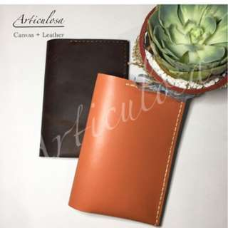 Leather passport holder with free name stamp max 6letters
