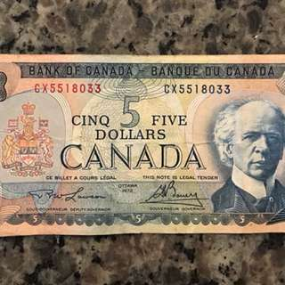 Canadian $5 bill/banknote