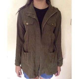 Green parka coat jacket