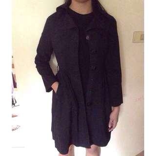Long black coat parka jacket