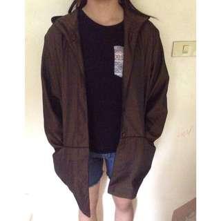 Brown parka with hoodie jacket coat
