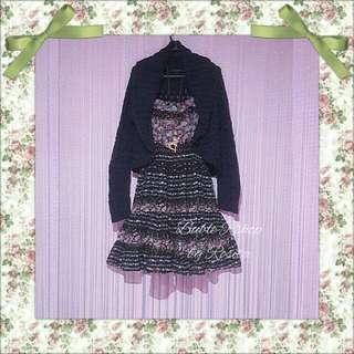 Midi Dress siffon flowery dark brown kombi bolero rajut hitam