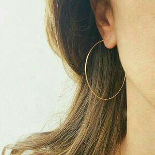 Thin Gold Hoop And Heart Earrings
