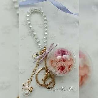 保鮮花雙粉色玫瑰鎖匙扣