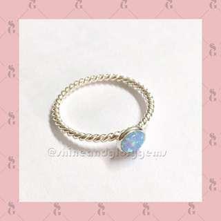 Cincin sterling silver twined twisted rope tali ulir blue opal biru Australia asli mini
