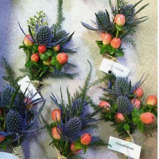 Grooms Boutonniere / Groomsmen Corsages in Thistle and Berries