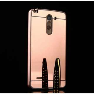 Luxury Metal Frame And Mirror PC Back Cover Case For LG G3 Stylus ( Rosegold)