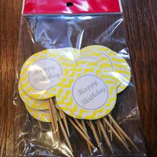 30pcs Yellow cupcake topper with Happy Birthday