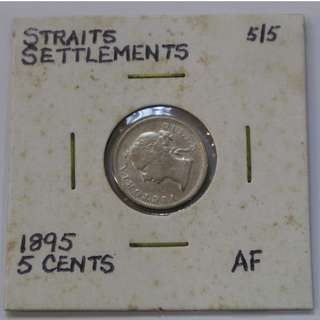 Straits Settlements 1895 - 5 Cent coin (AF / About Fine)