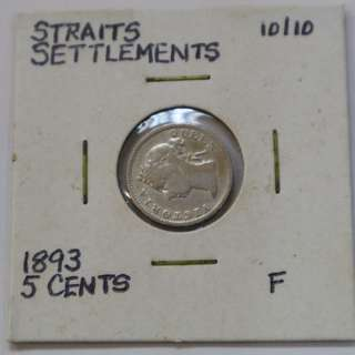 Straits Settlements 1893 - 5 Cent coin (F / Fine)