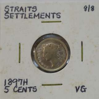 Straits Settlements 1897H - 5 Cent coin (VG / Very Good)
