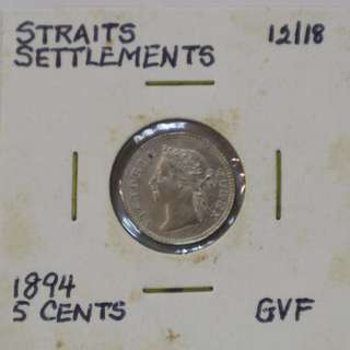 Straits Settlements 1894 - 5 Cent coin (GVF / Good Very Fine)