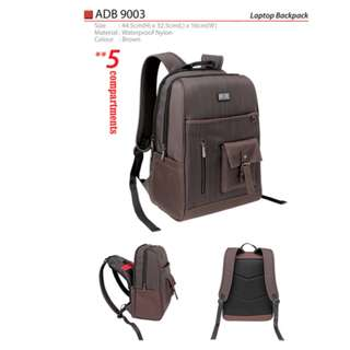 High Quality Waterproof Nylon Brown Laptop Backpack Bag wif 4 Compartment ADB9003