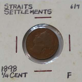 Straits Settlements 1898 - Half Cent coin (F / Fine)