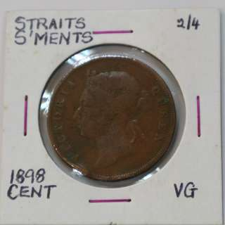 Straits Settlements 1898 - 1 Cent coin (VG / Very Good)