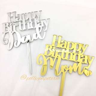 Happy Birthday Mom and Dad Cake Topper