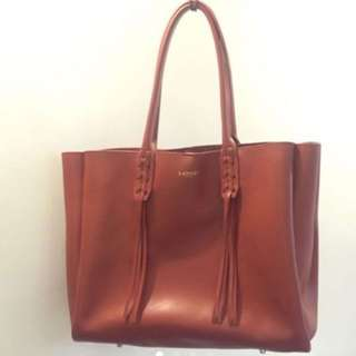 LANVIN LACE UP TASSEL LEATHER TOTE