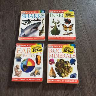 DK Pockets Books - Sharks, Earth, Insect & Minerals