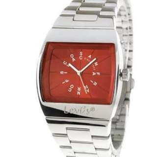 🚚 Levis英文時標不鏽鋼腕錶酒紅