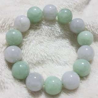 ⭐Bracelet GradeA Myanmar Jade (白豆绿冰糯种)