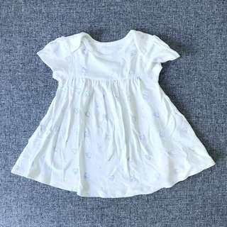 (9-12 mths) Marks & Spencer White dress with birds