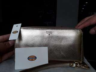 Dompet sidney satchel gold Fossil NWT