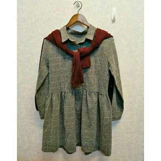 全新高質感文青風森女森林系舒適灰色格紋格子襯衫洋裝長袖洋裝格子洋裝娃娃裝大尺碼可