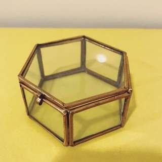 絕美古董🔮手工六角黃銅玻璃盒