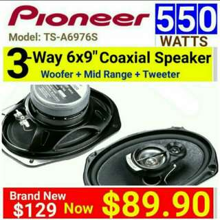 "Pioneer 6×9"" 550Watts/90watts RMS  3 Way Speaker for the extra power & Deeper Bass.  Model: TS-A6976S  (Brand new in box & sealed) . Usual Price:$ 189.90  Special Price:$ 89.90"