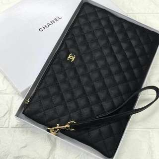 Chanel O Case Caviar Black