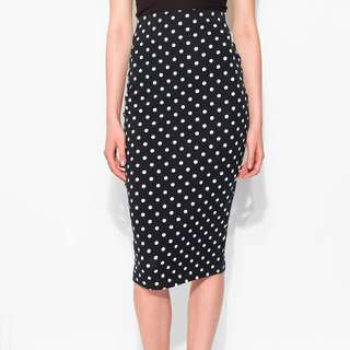 New Look Black Polka Dot Midi Pencil Skirt