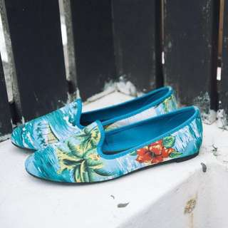 ASOS tropical palm print loafers