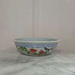 Republic Period Pot with enamel painting height 8.5cm diameter 34cm perfect