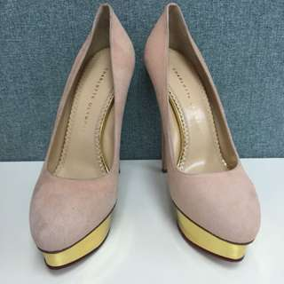 charlotte olympia pink suede pumps Sz 40