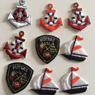 Embroidered Iron Ons  anchor ea $0.30 min order 20 pcs by mail. Can mix