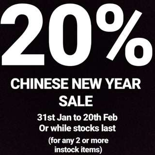 20% CHINESE NEW YEAR SALE