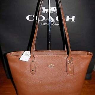 Coach City Zip Tote Bag Purse in Crossgrain Leather Saddle 2 F58846