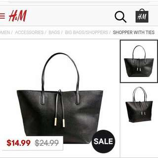 H&M shopper with ties bag