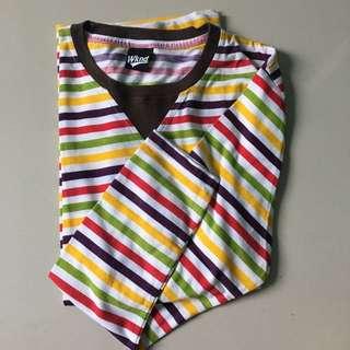 rainbow stripes tshirt long sleeves