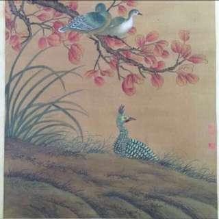 30% OFF GREAT CNY GIFT/SALE {Collectibles Item - Ink Painting} 現代画家(江苏太仓国画家)Modern Chinese Painter - Ink Painting On Silk 軸画長7尺(208cm) 寛2尺7寸(78cm) -【花鳥圖】 - 宋文治(1919-1999),现代画家。江苏太仓人。早年从張石园学习山水,后得陆俨少指授并拜吴湖帆为师。1951年入江苏省国画院受傅抱石影响,致力于山水画创新。