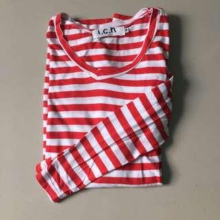 red stripes tshirt long sleeves