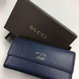 Gucci 高貴寶藍色長銀包多格卡片位