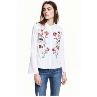 H&M Embroidered Shirt with Flared Sleeved