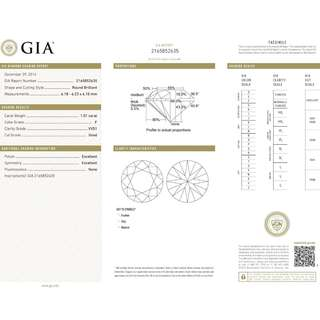 GIA Diamond 1.01ct VVS1 / F