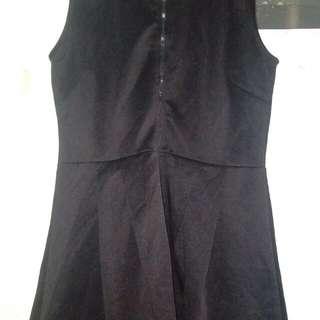 Zipper up black dress