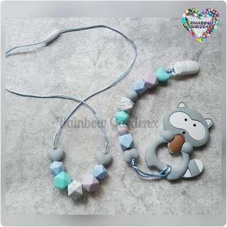 Handmade Beads necklace & Pacifier Clip + Raccoon teether Combo
