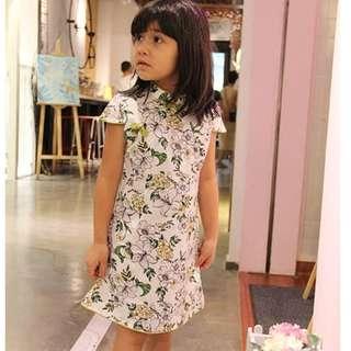 CS061 Girls Traditional Chinese Dress Cheongsam Qipao - White Lilies